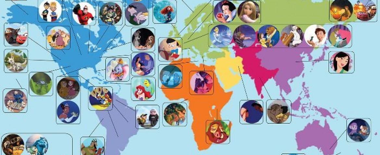 Dove sono ambientati i cartoni Disney e Pixar? Ecco la mappa!